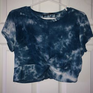 Blue tye dye crop top